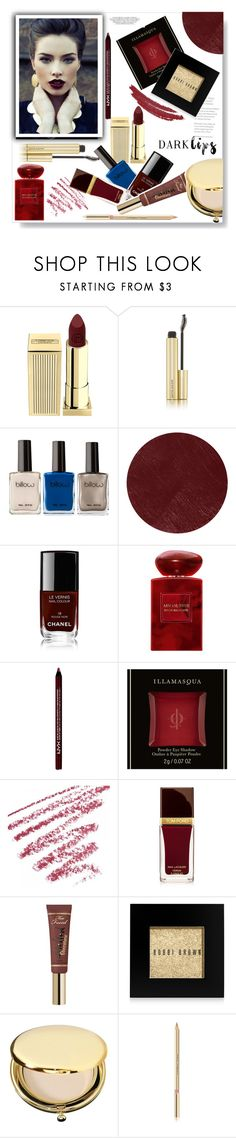 """""""Dark lips"""" by gul07 ❤ liked on Polyvore featuring Lipstick Queen, Kevyn Aucoin, Burberry, Chanel, Armani Beauty, NYX, Tom Ford, Too Faced Cosmetics, Bobbi Brown Cosmetics and Estée Lauder"""