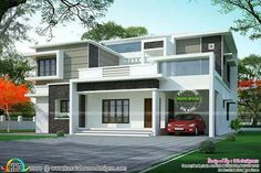 new home energy and design with modern house elevation kerala using best contemporary house design and house paint image inside House Front Design, Small House Design, Modern House Design, Free House Plans, Modern House Facades, Design Living Room, Kerala Houses, Small Modern Home, Dream House Exterior