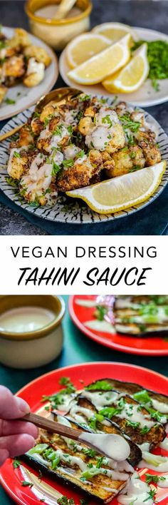 This easy #vegan tahini sauce is a 5-ingredients dressing recipe and is so good I could eat it with a spoon. Enjoy it as a sauce on #tahini toast, roasted vegetables, or salad dressing.   #dressing #sauce #recipe Delicious Vegan Recipes, Sauce Recipes, Raw Food Recipes, Healthy Recipes, Vegan Foods, Vegan Dishes, Edgy Veg, Tahini Sauce, Dressing Recipe