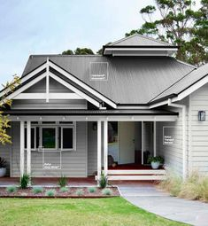 Grey Exterior Paint view popular house exterior paint colour schemes dulux home color paint - Colors For Homes Exterior Paint Colors For House, Hamptons House Exterior, Modern Exterior, Rendered Houses, House Color Schemes, House Exterior, Hamptons House, Weatherboard House, House Painting