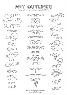 Set of Swashes & Swirls Full Page - 46 Original Hand Drawn Flourishes, Glyphs and Ornaments: