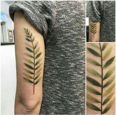 green fern tattoo made by Joshua Whitten… Pretty Tattoos, Love Tattoos, Beautiful Tattoos, Body Art Tattoos, Tattoo Ink, Tatoos, Armband Tattoo, Green Tattoos, Plant Tattoo