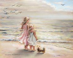 "Girls, sisters, art print, beach, sea,girls art, pastel, ""Ocean's Lullaby"" Laurie Shanholtzer"