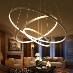 Modern Circular Ring Pendant Lights Circle Rings Acrylic Aluminum Body Led Lighting Ceiling Lamp Fixtures For Living Room Dining Room Pendant Lighting Fixtures Modern Pendant Lights From Greatli Modern Light Fixtures, Modern Pendant Light, Pendant Light Fixtures, Pendant Lamp, Gold Pendant, Ring Chandelier, Modern Chandelier, Chandelier Lighting, Living Room 2017
