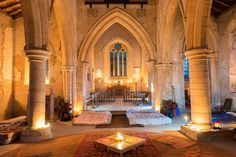 Glamping is so last year! The latest travel trend is 'champing' and it's all about spending the night in a historic church The All Saints' Church in Aldwincle, Northamptonshire is known for its medieval architecture. Quirky Places To Stay, Oh The Places You'll Go, Holy Night, Stay The Night, Slumber Parties, Sleepover, Abandoned Churches, New Travel, Travel Tips