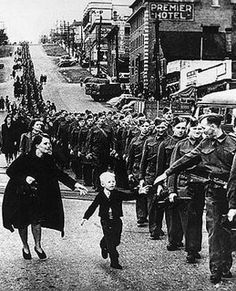 """""""Wait For Me, Daddy"""" - Oct.1, 1940 Province photographer Claude P. Dettloff took this in New Westminster. It became the most famous Canadian picture of WWII, and one of the most famous of all war pictures."""