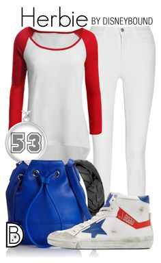 """""""Herbie"""" by leslieakay ❤ liked on Polyvore featuring J Brand, LE3NO, Kenneth Cole, Golden Goose, disney, disneybound and disneycharacter"""