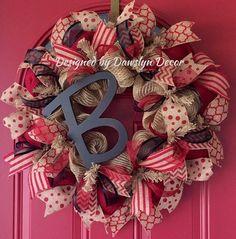 Burlap Wreath Valentine Wreath Initial Wreath Red by DawslynDecor