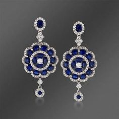 Gregg Ruth 6.74 ct. t.w. Sapphire and 1.73 ct. t.w. Diamond Dangle Earrings In 18kt White Gold