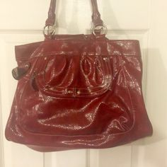 Patent-leather like red purse This is a fabulous purse! It does have some issues, as one decorative strap is missing (see picture) and the handles are noticeably worn. Bags Shoulder Bags
