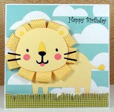 Lion Birthday card - mane made with ribbon - bjl