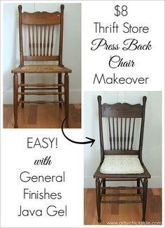 Wood Chair Press Back Chair Update with Java Gel Stain - General Finishes before and after Chair Redo, Chair Makeover, Diy Chair, Furniture Makeover, Dresser Makeovers, Chair Upcycle, Chair Fabric, Chair Repair, Furniture Repair