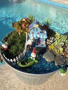 Unordinary Magical Fairy Garden Design Ideas To Try 12 Indoor Fairy Gardens, Miniature Fairy Gardens, Outdoor Gardens, Fairy Statues, Garden Statues, Beach Fairy Garden, Fairies Garden, Formal Gardens, Gnome Garden
