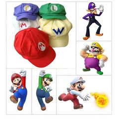 6886972c174 Super Mario Bros Hat Cap Luigi Wario Waluigi Cosplay Game character Cartoon  New Baseball Costumes