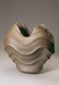 MORI Togaku, Japan. Beautiful shape and movement. Love the lines. Ceramic. Vase. Vessel. Carving.