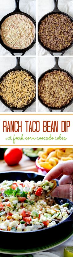 My absolute favorite dip!  everyone always asks me or the recipe. Creamy bean dip layered with cheese, ranch spiced beef, more cheese and refreshing fresh corn, avocado salsa.  #beandip #tacodip #Mexican