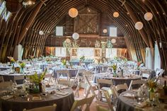 Rustic wedding decoration ideas featuring wedding paper lanterns and wedding string lights