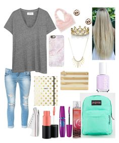 """Untitled #297"" by tayler-wyatt on Polyvore featuring Zara, The Great, Aerie, Casetify, Givenchy, Erica Courtney, Avenue, JanSport, Maybelline and MAC Cosmetics"