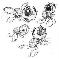 Seaturtles by jjnomann on DeviantArt Cartoon Sketches, Animal Sketches, Animal Drawings, Cartoon Art, Graffiti Drawing, Cool Art Drawings, Art Drawings Sketches, Desenho New School, Cute Monsters Drawings
