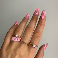 Cute Acrylic Nails, Cute Nails, Pretty Nails, Hair And Nails, My Nails, Nail Inspo, Nail Ring, Funky Nails, Minimalist Nails