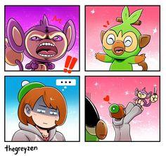 Aipom is her spirit pokemon. Ghost Pokemon, Pokemon Comics, Pokemon Funny, Pokemon Memes, Type Pokemon, Pokemon Fan Art, Pokemon Go, Pokemon Stuff, Overwatch Funny Comic