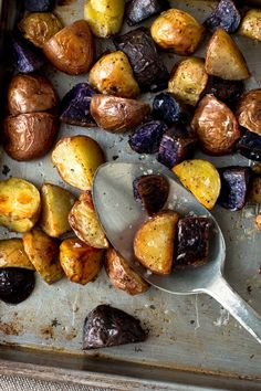 NYT Cooking: Each different type of potato here has its own distinctive flavor and texture as well as color. Some will roast more quickly than others but it doesn't matter to me if certain pieces in the mix become very soft. My favorite mix here consists of sweet potato, purple potatoes, fingerlings, Yukon golds and red bliss.