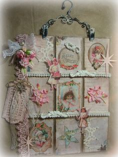Christmas ATC Artist Trading Card Inspiration Shabby Chic Style Pocket Letter @plonysbloggie