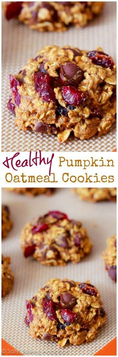 An easy recipe for pumpkin oatmeal cookies. Filled with chocolate chips and dried cranberries. No butter or oil in the recipe! Pumpkin Oatmeal Cookies, Pumpkin Chocolate Chips, Oatmeal Chocolate Chip Cookies, Pumpkin Dessert, Pumpkin Pumpkin, Oatmeal Muffins, Oatmeal Biscuits, Pumpkin Bars, Pumpkin Bread