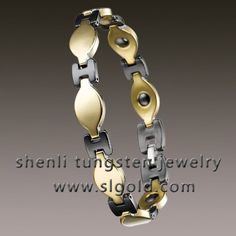 Tungsten Bracelet   Material:  Ceramic  Color:polished shiny  Plating: gold plating   Magnets: can inlay magnets  Stone: No stone used  Length:215mm  Width: 10mm  Pieces: 17