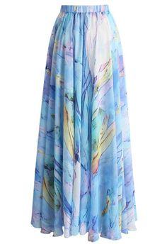 Ethereal Tulip Watercolor Chiffon Maxi Skirt - New Arrivals - Retro, Indie and Unique Fashion Modest Fashion, Unique Fashion, Vintage Fashion, Fashion Looks, Fashion Outfits, Fashion Fashion, Vintage Style, Chiffon Maxi, Maxis