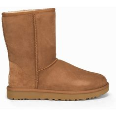 Ugg W Classic Short Ii ($285) ❤ liked on Polyvore featuring shoes, boots, ankle booties, chestnut, everyday shoes, womens-fashion, short suede boots, ugg boots, short suede booties and round cap