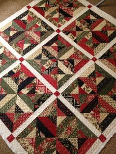 Wintergreen - My Red Door Designs - string quilt with sashing and cornerstones! Awesome!