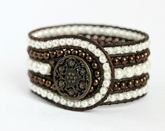 Items similar to Pearl Beaded Leather Cuff, 5 Row Wrap Bracelet, White and Chocolate Brown Glass Pearls Bronze Metal Button Bohemian Jewelry on Etsy Bead Loom Bracelets, Beaded Wrap Bracelets, Pandora Bracelets, Beaded Jewelry, Jewelry Bracelets, Jewelery, Crochet Bracelet, Wrap Bracelet Tutorial, Wire Wrapped Bracelet