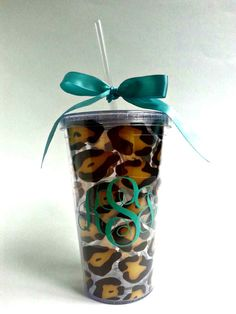 Leopard Tumbler with Mint bow customized to your initials!