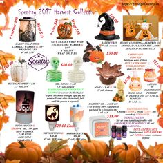 Scentsy 2017 Harvest collection flyer. Products available September 1, 2017 at https://postalgirl.scentsy.us/ scentsy fall harvest 2017 collection