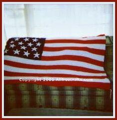 Free crochet pattern to make an heirloom American flag afghan or an American flag fridgie.