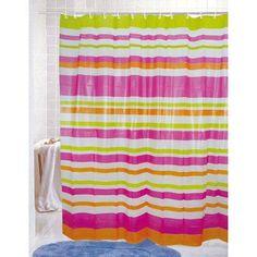 PVC Free (PEVA) Printed Shower Curtain, Colorful Strata Stripes Print, 70x72, Maggie