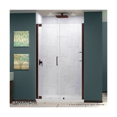 "Dreamline SHDR-4152720 Elegance 72"" High x 54-3/4"" Wide Pivot ($736) ❤ liked on Polyvore featuring home, home improvement, plumbing, hinged, oil rubbed bronze, shower doors and showers"