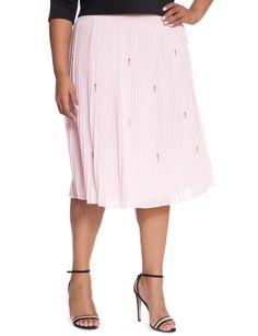 Studio Pleated Embellished Skirt | Women's Plus Size Skirts | ELOQUII