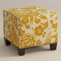 Maize Canary McKenzie Upholstered Ottoman - World Market Living Room Accents, Living Room Chairs, Living Room Furniture, Home Furniture, Upholstered Ottoman, Chair And Ottoman, Yellow Ottoman, Bedroom Reading Nooks, Patchwork Chair