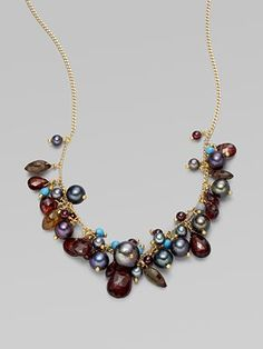 Alexis Bittar - Garnet, Turquoise and Freshwater Pearl Necklace...pinned by ♥ wootandhammy.com, thoughtful jewelry.
