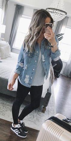 #fall #outfits women's blue denim jacket