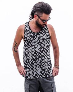 Grey and White Printed Man's Tank Top, Men's art printed Tank Tops, Burning Man Festival Wear, Bohemian man's wear, Summer man's wear