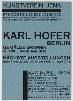 MoMA | The Collection | Walter Dexel. Kunstverein Jena, Karl Hofer. 1926