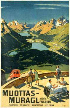 Wilhelm Friedrich Burger Muottas Muragl Engadin Artiste Inconnu 1937. Vintage Travel Switzerland