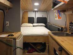 Post with 1219 views. Build A Camper Van, Diy Camper, Camper Ideas, Van Conversion Murphy Bed, Van Bed, Plywood Siding, Hidden Bed, Van Home, Futon Bed