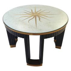 Brass-Mounted, Mirrored Glass Center Table
