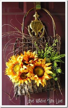 Fall Sunflower Door Basket...