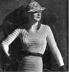 DIY: Schiaparelli, 1930s Vintage, Knit Dress ---- Published in the book Picture Yourself in Handknits (1938). ---- #dress