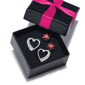 A gift from the heart Two pairs of silvertone pierced earrings in a gift box: heart studs with rhinestones and carat diamond-weight equivalent red CZ studs. Betty Boop, Stocking Stuffers For Her, Valentine Day Gifts, Valentines, Christmas Earrings, Jewelry Gifts, Jewelery, Fine Jewelry, Earring Set